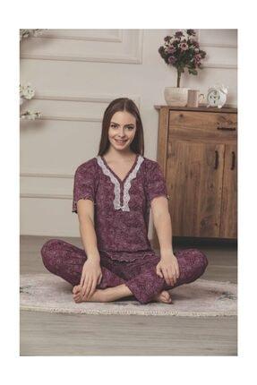 Lila Viskon Pijama Takımı 1
