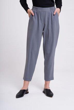 Mizalle Beli Lastikli Dar Paça Pantolon (Gri) 1