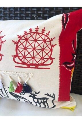 heybelioda Keten Özel Tasarım Hitit Desen El Boyama Dekoratif Yastık Kırlent Kılıfı 1