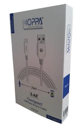 OPPA E105 3.4a 2m(200cm) Type-c Şarj Ve Data Kablosu Sadece Kablo Beyaz 1