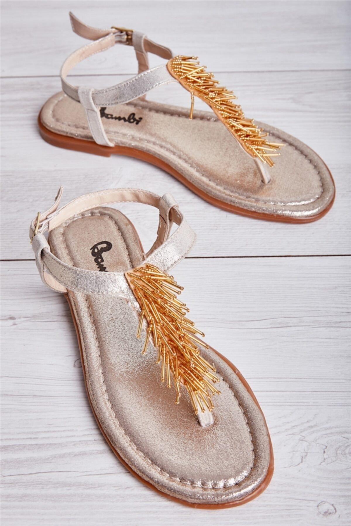 Bambi Altın Kadın Sandalet L0625020378