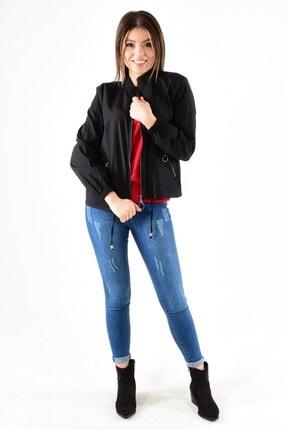 ModaPlaza Kadın Fermuarlı Altı Bağcıklı Siyah Spor Ceket 7210 2