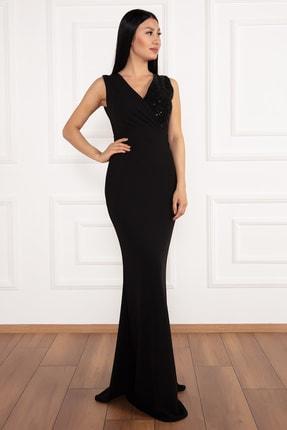 PULLIMM Ophelia 13213 Krep V Yaka Uzun Elbise 0
