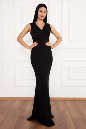 PULLIMM Ophelia 13213 Krep V Yaka Uzun Elbise 1