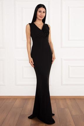 PULLIMM Ophelia 13213 Krep V Yaka Uzun Elbise 2