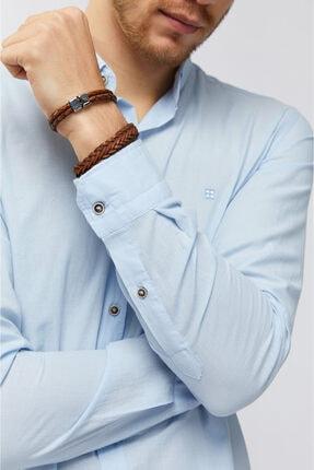 Avva Erkek Açık Mavi Düz Düğmeli Yaka Slim Fit Uzun Kol Vual Gömlek A91s2206 2
