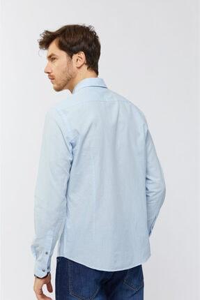 Avva Erkek Açık Mavi Düz Düğmeli Yaka Slim Fit Uzun Kol Vual Gömlek A91s2206 3