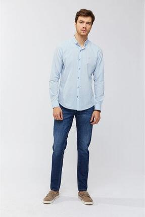Avva Erkek Açık Mavi Düz Düğmeli Yaka Slim Fit Uzun Kol Vual Gömlek A91s2206 4