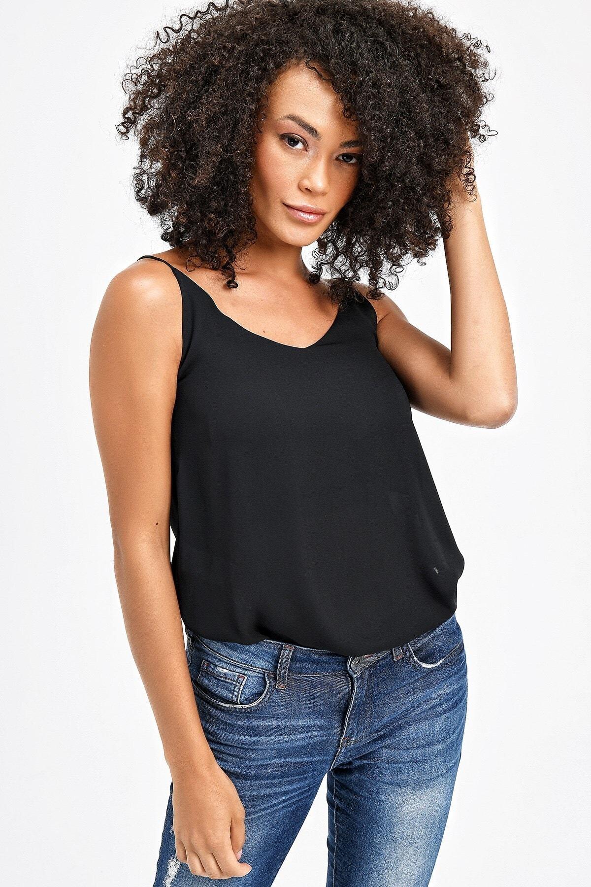 Queen Ip Askılı Bluz -siyah