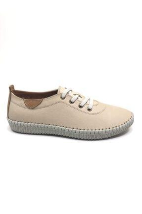 VERAMOD Hakiki Deri Bej Kadın Ayakkabı 1