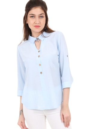 Bigdart 3658 Gömlek Yaka Tahta Düğme Bluz 0