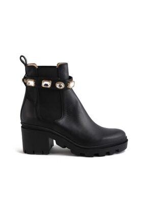 Azura Siyah Deri Taşlı Kadın Topuklu Bot 644 89-R980