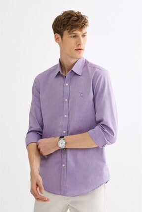 Avva Erkek Mor Düz Klasik Yaka Slim Fit Gömlek A01y2120 1