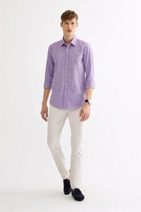 Avva Erkek Mor Düz Klasik Yaka Slim Fit Gömlek A01y2120 3