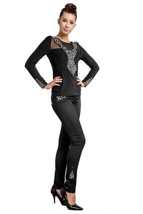 Dodona 1385 Özel Tasarım Payetli Siyah Kışlık Pantolon 0
