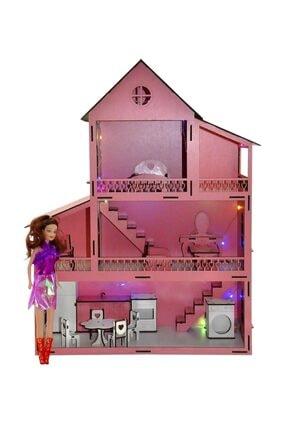 PARSTEK Pembe Barbie Ev Eşyalı 3 Kat Led Işık Ve Bebekli Demonte Full 2