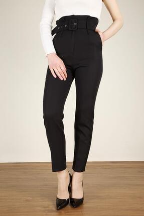Z GİYİM Kadın Siyah Kemerli Yüksek Bel Kumaş Pantolon 0
