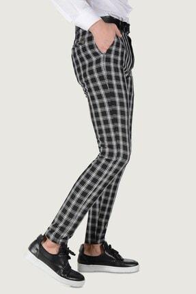 Terapi Men Erkek Ekoseli Slim Fit Keten Pantolon 20k-2200253 Siyah 1