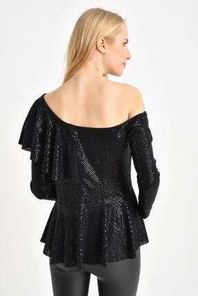 Tena Moda Kadın Siyah Parlak Asimetrik Volanlı Bluz 4