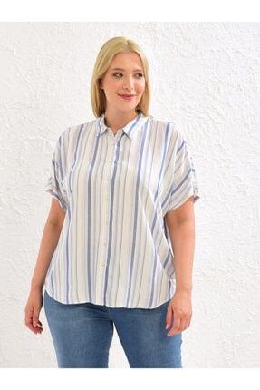 LC Waikiki Kadın Mavi Çizgili  Gömlek 0