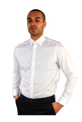 Dufy Beyaz Pamuklu Ipeksi Klasik Erkek Gömlek - Slım Fıt 1