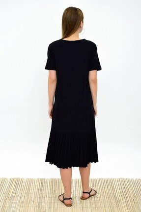 Cotton Mood 9303044 Süprem Eteği Pliseli Kısa Kol Elbise Sıyah 1