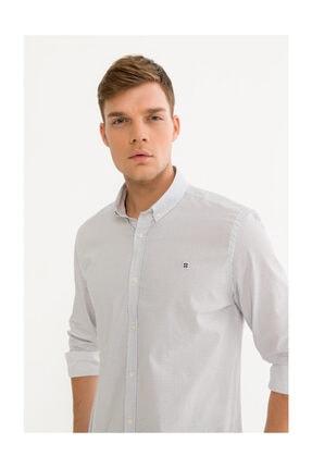 Avva Erkek Beyaz Baskılı Düğmeli Yaka Slim Fit Gömlek A92s2274 1