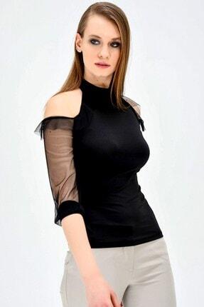 Jument Kadın Ofis Dik Yaka Tül Detaylı Body Bluz -siyah 0