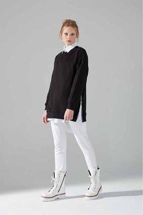 Mizalle Youth Yandan Fermuarlı Sweatshirt (Siyah) 0