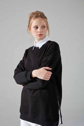 Mizalle Youth Yandan Fermuarlı Sweatshirt (Siyah) 1