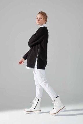 Mizalle Youth Yandan Fermuarlı Sweatshirt (Siyah) 2