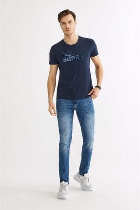 Avva Erkek Lacivert Bisiklet Yaka Gofre Baskılı T-shirt A01y1032 3