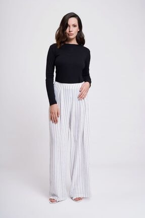 Çizgili Pileli Bol Paça Pantolon (Beyaz) resmi