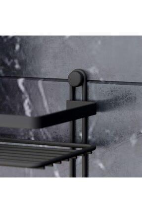 Teknotel Dört Katlı Kancalı Banyo Rafı Siyah Es060h 3