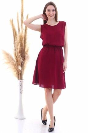Cotton Mood 9315020 Dok.viskon Desenli Cepli Kolsuz Elbise Bordo 1