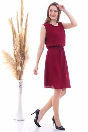 Cotton Mood 9315020 Dok.viskon Desenli Cepli Kolsuz Elbise Bordo 3
