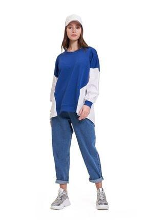 Mizalle Youth Poplin Gömlek Detaylı Sweatshirt (Saks) 1