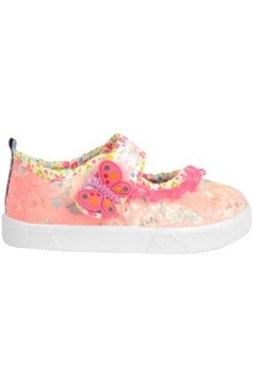 02705 Pembe Cırtlı Keten Yazlık Kız Çocuk Babet Spor Ayakkabı resmi