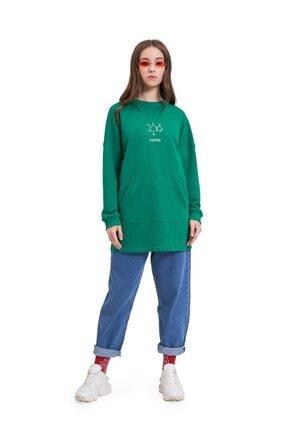 Mizalle Youth Dna Baskılı Sweatshirt (Yeşil) 1