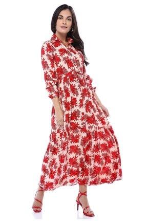 AYSL BUTİK Kırmızı Çiçek Desenli Belden Büzgülü Gömlek Elbise 0