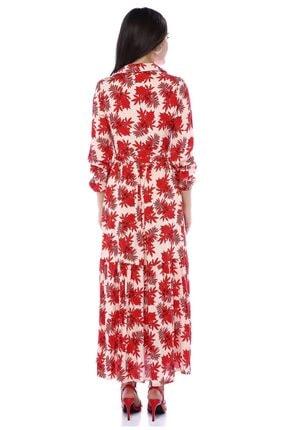 AYSL BUTİK Kırmızı Çiçek Desenli Belden Büzgülü Gömlek Elbise 1