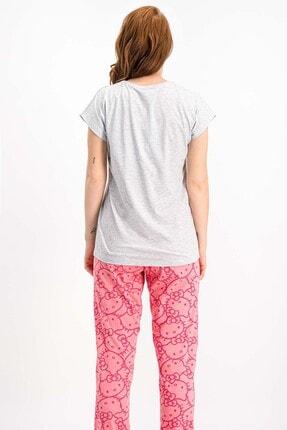 Hello Kitty Lisanslı Karmelanj Kısa Kollu Kadın Pijama Takımı 2