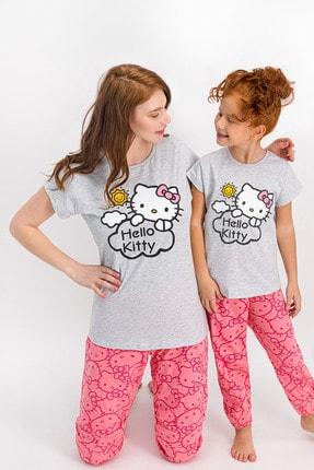 Hello Kitty Lisanslı Karmelanj Kısa Kollu Kadın Pijama Takımı 3