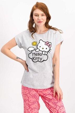 Hello Kitty Lisanslı Karmelanj Kısa Kollu Kadın Pijama Takımı 4