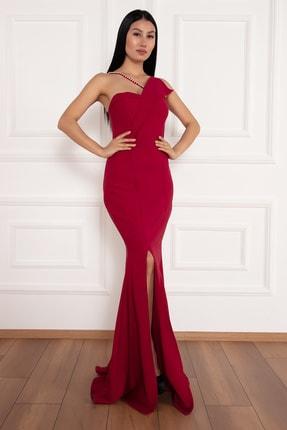 PULLIMM Maureen 13218 Yırtmaçlı Inci Detaylı Uzun Elbise 1