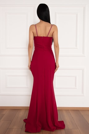 PULLIMM Maureen 13218 Yırtmaçlı Inci Detaylı Uzun Elbise 4