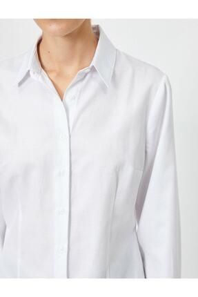 Koton Kadın Beyaz Klasik Yaka Gömlek 4