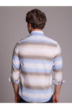 Dufy Bej Mavi Pamuklu Erkek Gömlek - Slım Fıt 3