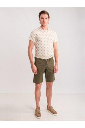 Dufy Haki Düz Pamuk Likra Karışımlı Erkek Short - Slım Fıt 2