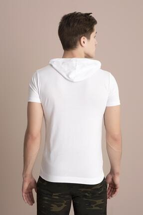 Tena Moda Erkek Beyaz Kapüşonlu Düz Tişört 3
